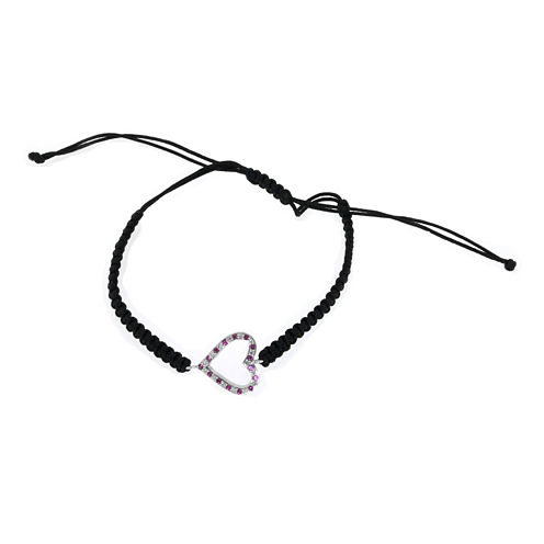 Lab-Created Ruby & Diamond Accent Sterling Silver Heart Bracelet