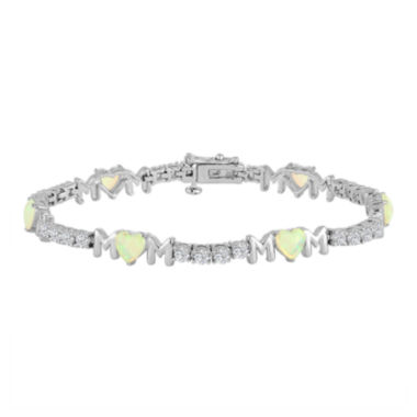 jcpenney.com | Lab-Created Opal & Cubic Zirconia Sterling Silver Over Brass Bracelet