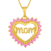 Simulated Pink Sapphire 14K Gold Over Silver Heart Pendant