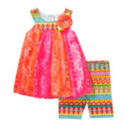 Youngland® Sleeveless Crochet Dress and Shorts Set- Preschool Girls 4-6X