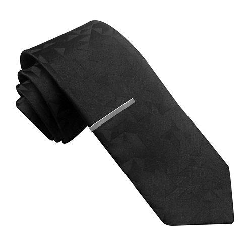 JF J. Ferrar® Tonal Graphic Skinny Tie with Tie Bar
