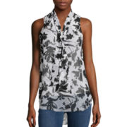 Almost Famous Sleeveless Bow Blouse - Juniors