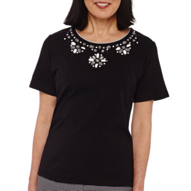 jcpenney.com | Alfred Dunner® Weekend Oasis Short-Sleeve Beaded-Yoke Top