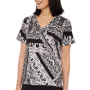 Alfred Dunner® Weekend Oasis Short-Sleeve Patchwork Top