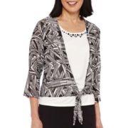 Alfred Dunner® Weekend Oasis 3/4-Sleeve Printed Layered Top