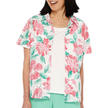 jcpenney.com | Alfred Dunner® Acapulco Short-Sleeve Print Layered Top