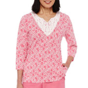 Alfred Dunner® Acapulco 3/4-Sleeve Print Tunic Top