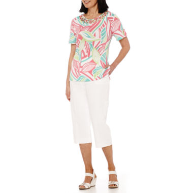 jcpenney.com | Alfred Dunner® Acapulco Short-Sleeve Burnout Top or Capris