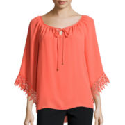 Alyx® Crochet Sleeve Peasant Top