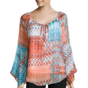 Alyx® Long-Sleeve Printed Peasant Top