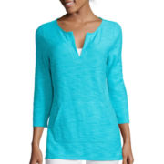 Liz Claiborne 3/4-Sleeve Kangaroo Pocket Tunic - Tall