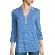 Liz Claiborne® 3/4-Sleeve Multi-Striped Knit Tunic