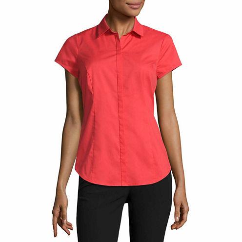 Worthington® Short Sleeve Button-Front Shirt - Tall
