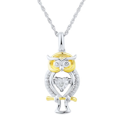 Love in motion diamond accent sterling silver owl pendant necklace love in motion diamond accent sterling silver owl pendant necklace aloadofball Image collections
