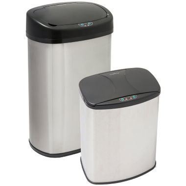 jcpenney.com | Brushed Stainless Steel Motion Activated Touch-Free Sensor Trash Can Set, 2-Pack, 13 Gal and 4 Gal