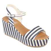 Diba® London Wales Quarter Strap Striped Wedge Sandals