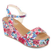 Diba® London Wales Quarter Strap Floral Wedge Sandals