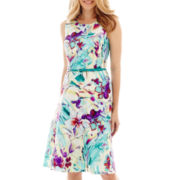 Black Label by Evan-Picone Sleeveless Belted Floral Print Dress