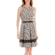 Danny & Nicole® Sleeveless Belted Lace-Trim Shantung Dress