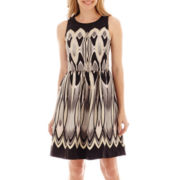 Danny & Nicole® Sleeveless Print Shantung Dress