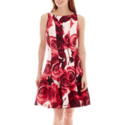 Danny & Nicole® Sleeveless Rose Print Shantung Fit-and-Flare Dress