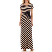 Trulli Short-Sleeve Multi-Stripe Maxi Dress