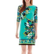 Studio 1® 3/4-Sleeve Floral Print Knit Dress