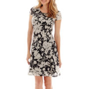Beige By Eci Cap-Sleeve Floral Print Fit-and-Flare Dress