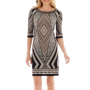 Studio 1® Elbow-Sleeve Beaded-Neck Geo Print Shift Dress