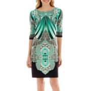 Studio 1® Elbow-Sleeve Paisley Print Dress