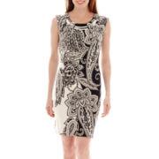 Studio 1® Sleeveless Bar-Trim Paisley Print Dress