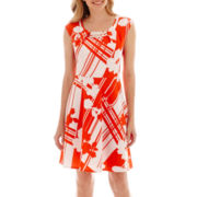 Studio 1® Sleeveless Bar-Trim Floral Print Dress