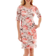 Studio 1® Elbow-Sleeve Floral Print Laser-Cut Sheath Dress