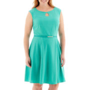 London Style Collection Cap-Sleeve Belted Lace Dress - Plus