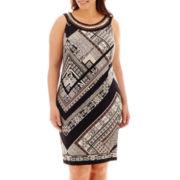 Studio 1® Sleeveless Mixed Print Shift Dress - Plus