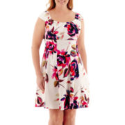 London Style Collection Sleeveless Sateen Fit-and-Flare Dress - Plus