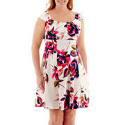 London Style Collection Sleeveless Sateen Fit And Flare