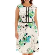 Sandra Darren Cap-Sleeve Techno Print Dress - Plus