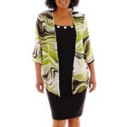 Dana Kay Swirl Print Duster Jacket Dress - Plus