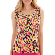 Black Label by Evan-Picone Sleeveless Swirl Print Pleat-Neck Cami