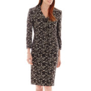 Le Suit® 3-Button Notch Collar Print Lace Twill Jacket and Skirt