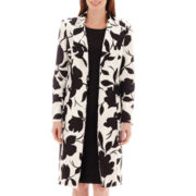 Le Suit® Long-Sleeve Print Flyaway Shantung Coat and Solid Dress