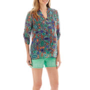 Maternity V-Neck Tunic Blouse or Denim Crochet Pom Pom Shorts