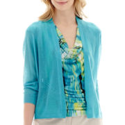Worthington® 3/4-Sleeve Open-Stitch Flyaway Cardigan Sweater - Petite