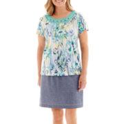 Alfred Dunner® St. Maarten Floral Ikat Print Top or Skort