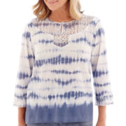 Alfred Dunner® St. Maarten 3/4-Sleeve Lace-Trim Tie-Dye Tunic Top