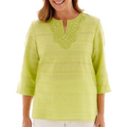 Alfred Dunner® Morocco 3/4-Sleeve Lace-Trim Tunic Top