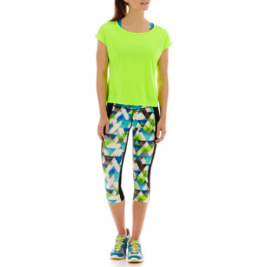 jcpenney.com | Xersion™ High-Low Mesh T-Shirt, Sports Bra or Print-Inset Capris