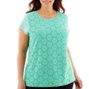 Liz Claiborne® Short-Sleeve Lace-Front Top - Plus