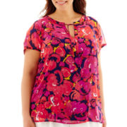 Liz Claiborne® Short-Sleeve Tie-Neck Print Blouse - Plus